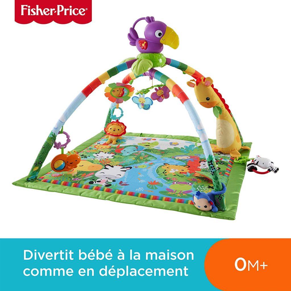 Le tapis d'éveil Fisher Price Jungle propose des chansons, des sons de la nature et des jeux de lumière pour divertir bébé.