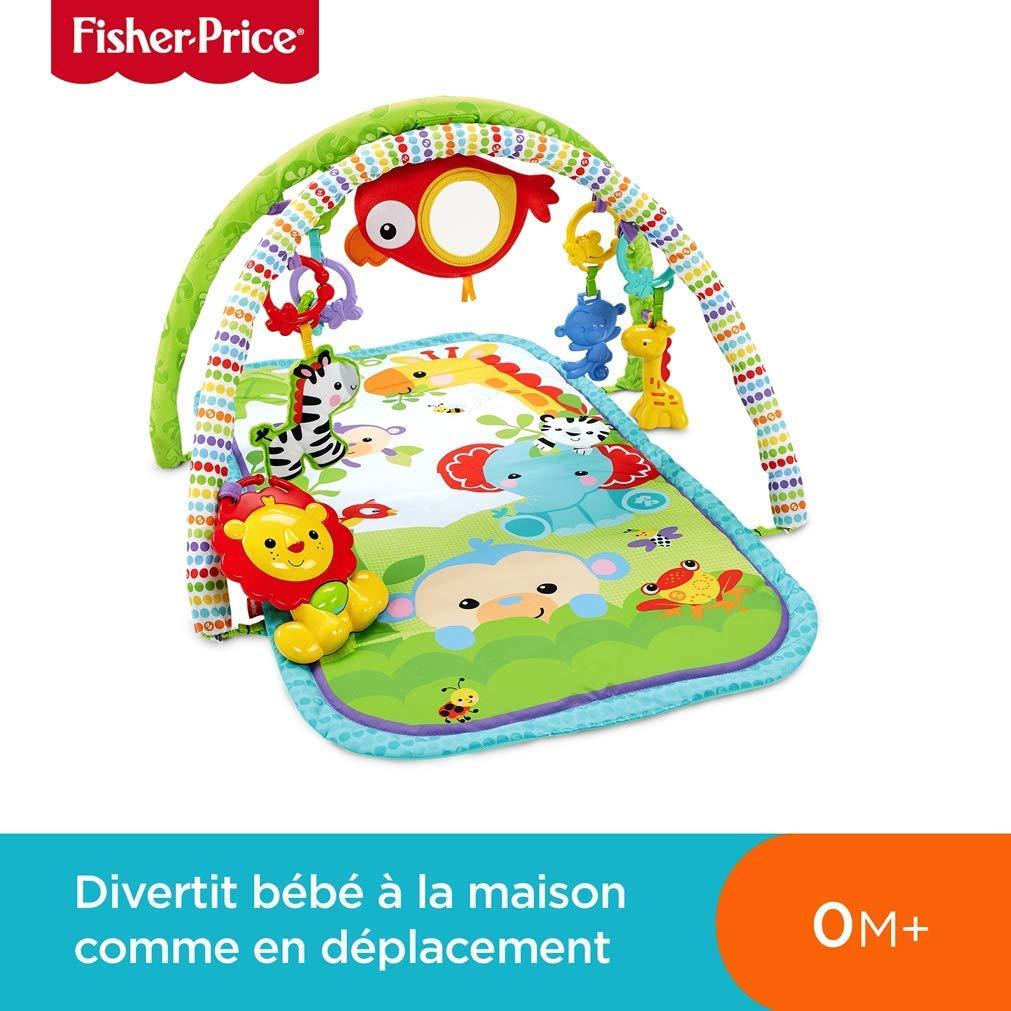 Le tapis d'éveil Fisher Price les amis de la jungle s'utilise dès la naissance.